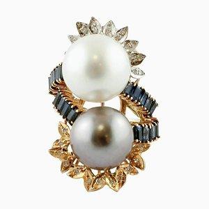 Großer Ring aus 14kt Weiß-, Rosé- und Gelbgold mit Perlen, Diamanten und Saphiren in Weiß und Grau