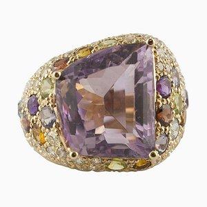 Diamant Amethyst Gelb und Blau Topas Roségold Ring