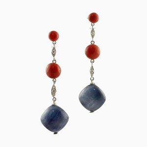 Orecchini pendenti in tanzanite, corallo rosso, diamanti e oro bianco, set di 2