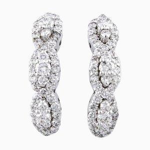 Boucles d'Oreilles Diamants, Or Blanc 18K, Set de 2