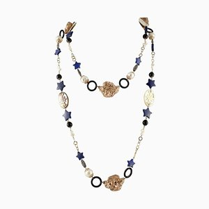 Onyx Lapis Mother-of-Pearl, Rose Gold and Silver Necklace
