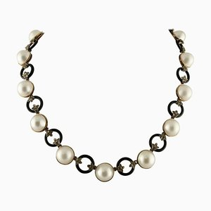 Diamonds, Onyx, Pearls, Gold and Silver Link Necklace