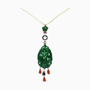 Green Agate, Red Coral ,Onyx, Ruby, Diamonds, Gold and Silver Pendant Necklace