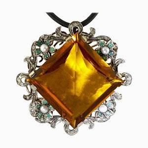 Pendentif Topaze, Emeraude, Diamant et Perle en Or Rose et Argent