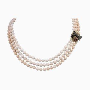 Amethyst & Diamant Roségold und Silber Multi-Strand Halskette mit Rosa Kugeln Reihen