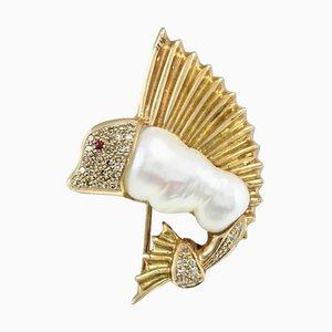 Broche Perle, Rubis, Diamant et Or