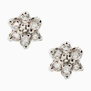 Diamonds and 18 Karat White Gold Flower Earrings, Set of 2