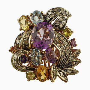 Aquamarin, Diamant, Topas, 9 Karat Roségold und Silber Cocktail Ring