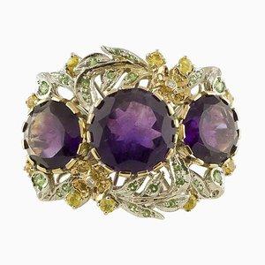 White Diamond, Yellow Sapphire, Tsavorite, Amethyst & 14K White and Rose Gold Ring