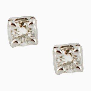 Orecchini con diamanti e oro bianco a 18 carati, set di 2