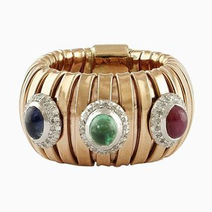 Bague Diamant, Saphir Bleu, Rubis, Emeraude et Or Rose 14K