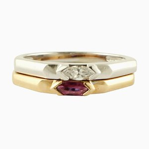 Diamond, Ruby & 18 Karat White and Rose Gold Double Ring