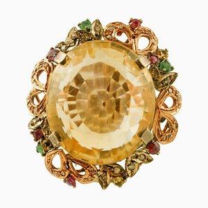 Bague Topaze, Diamant, Émeraude, Rubis, Or Rose 9 Carats et Argent