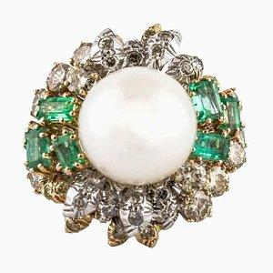Diamant, Smaragd, Perle und Weißgold Ring