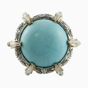 Diamant, Bergkristall, Türkis, Weiß und Roségold Cocktail Ring