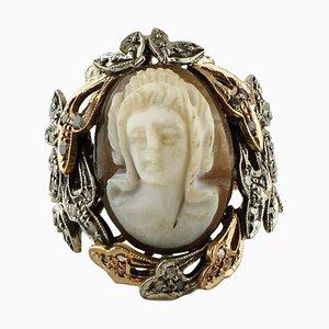 Gravierter Kamee Ring mit blauem Saphir, Diamant, Roségold und Silber