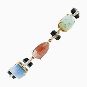 Farbiges Armband aus Saphiren, Diamanten, Onyx, Rose und Weißgold