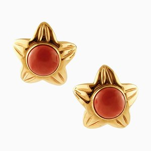 Star Earrings in 18K Yellow Gold and Coral, Set of 2