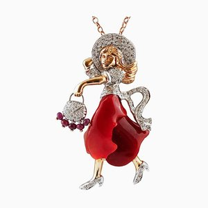 Diamond, Ruby, Coral & White and Rose Gold Lady Pendant