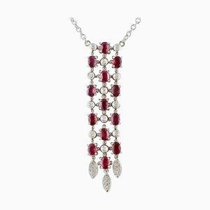 Diamanten, Rubine, 18 Karat Weißgold Halskette mit Anhänger