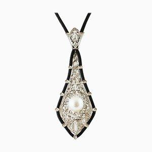 South Sea Pearl, Diamond & White Gold Pendant with Black Neck Cord