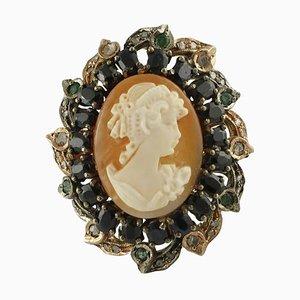 Blauer Saphir, Smaragd, Diamant, 9 Karat Gold und Silber Kamee Ring