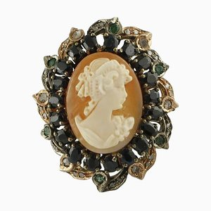Blue Sapphire, Emerald, Diamond, 9K Gold and Silver Cameo Ring