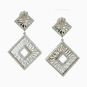 Hängeohrringe mit Diamanten und 18 Karat Weißgold, 2er Set