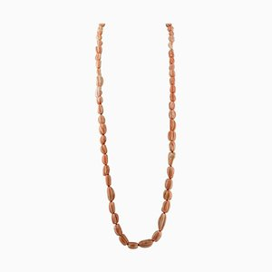 Orange or Pink Coral Multi-Strand Bead Necklace