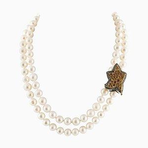 Handgefertigte Perlen Halskette mit Diamant, Topas, Perle, Weiß & Roségold und Silber