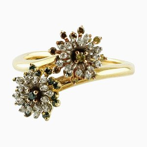 Handcrafted Diamond, Yellow and White Gold Ring