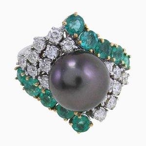 Bague Artisanale avec Perle Noire, Émeraude, Diamant et Or Blanc