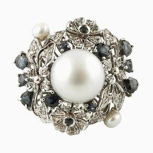 Handgefertigter Cluster Ring mit Diamanten, Perlen, Blauen Saphiren und 14 Karat Weißgold