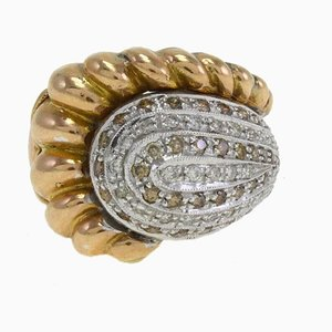 Handcrafted Cornucopia Ring in White Diamond and Gold