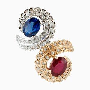 Handgefertigter Contrarie Ring mit Weißem Diamanten, Blauem Saphir, Rubin & Rose und Weißgold