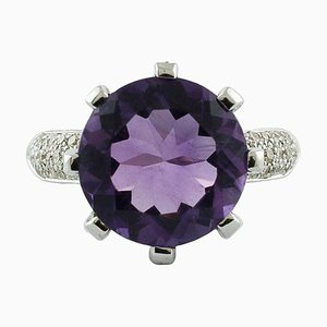 Handcrafted Cluster Ring with 8.20 Carat Amethyst, White Diamond & 18 Karat White Gold