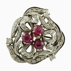 Handcrafted Ring with 2.43 Carat Rubies, 0.86 Carat White Diamond & White Gold