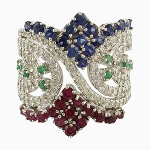 Handcrafted Band Ring with Rubies, Sapphire, Emeralds, Diamond & White Gold