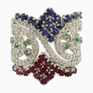 Handgefertigter Bandring mit Rubinen, Saphiren, Smaragden, Diamanten & Weißgold