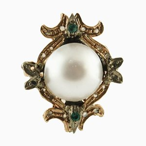 Handcrafted Ring with Diamonds, Emeralds, Pearl Rose Gold and Silver