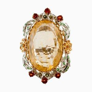 Handgefertigter Cluster Ring mit Diamant, Grünem Tsavorit, Topas, Citrin & Rosé und Weißgold