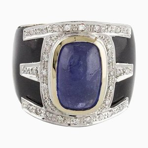 Handcrafted Band Ring with Onyx, Diamond, Tanzanite & Rose Gold