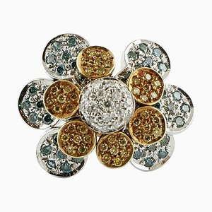 Handgefertigter Gänseblümchen Ring mit Gold Fancy Diamond
