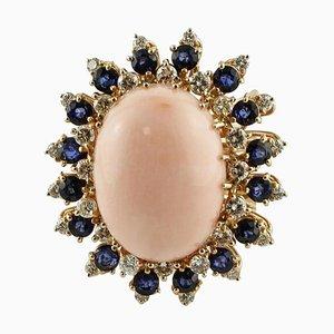 Bague Artisanale avec Corail Rose, Saphir Bleu, Diamant et Or Rose 18 Carat