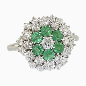 Handcrafted Flower Ring with Emeralds, Diamonds and White Gold