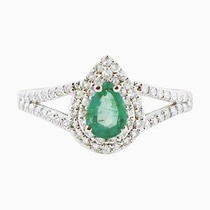Diamond, Emerald and 18 Karat White Gold Drop-Shaped Ring