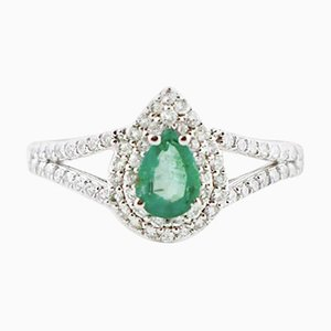 Tropfenförmiger Diamant-, Smaragd- und 18 Karat Weißgold Ring