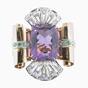 Handcrafted Ring with Amethyst, Diamond, Tsavorite & Rose and White Gold