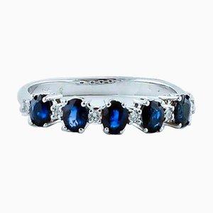 Diamant, Blauer Saphir und Ring aus 18 Karat Weißgold