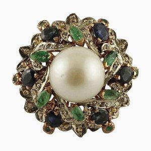 Bague Artisanale avec Perle, Diamant, Émeraudes, Saphir Bleu, Or 9 Carat et Argent